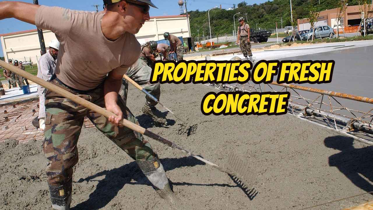 the fresh properties of concrete workability construction essay Workability is a property of freshly mixed concrete concrete is a mixture of cement, aggregates, water, and admixturesthe properties of concrete, whether in the fresh state or hardened state, are affected by its ingredients and their proportions.